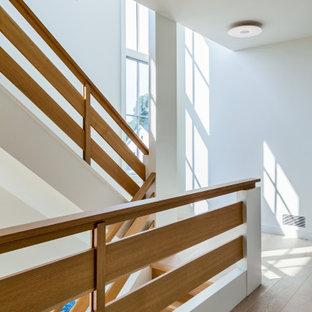 Idéer för mellanstora minimalistiska raka trappor i trä, med sättsteg i trä och räcke i trä