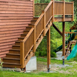 Rustic Entryway, Walkway and Back Decks with Trex Decking and Cedar Railing