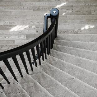 Esempio di una scala curva design di medie dimensioni con pedata in moquette e alzata in moquette