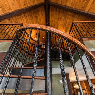 Rustic Loft Spiral Staircase