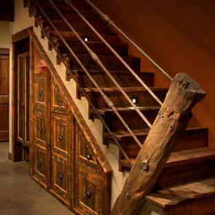 Staircase - rustic staircase idea in Other
