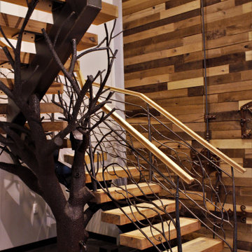 Rustic Metal Railing, Floating Staircase with Tree