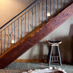 Modelo de escalera recta, rústica, de tamaño medio