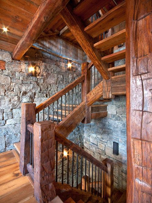 Log Cabin Staircase Railing Home Design Ideas