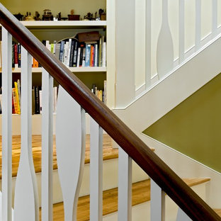 Inspiration for a rustic wooden staircase remodel in Burlington
