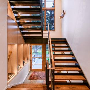 シアトルの大きい木のコンテンポラリースタイルのおしゃれな階段 (金属の手すり) の写真