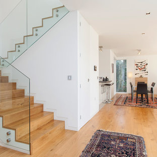 Contemporary wood staircase in Hampshire.