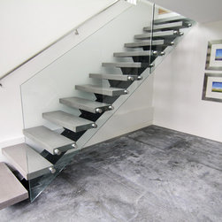 contemporary concrete tread staircase design ideas