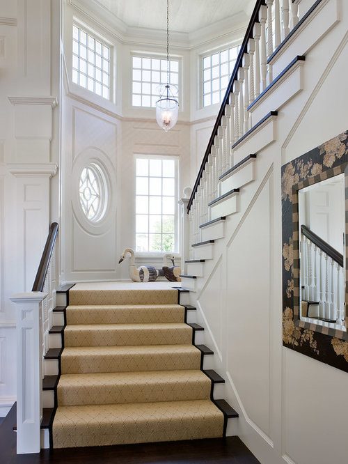 Beach Style Carpeted U Shaped Staircase Idea In Boston