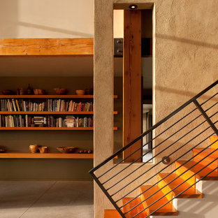 Trendy wooden straight staircase photo in Atlanta with wooden risers