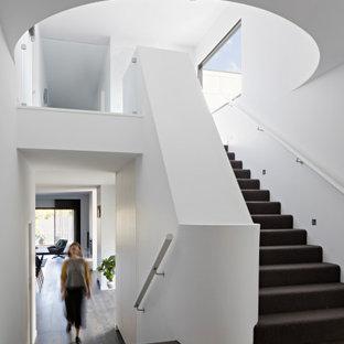 メルボルンの広いカーペット敷きのコンテンポラリースタイルのおしゃれな折り返し階段 (カーペット張りの蹴込み板、木材の手すり) の写真