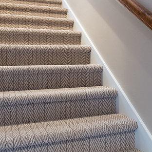 他の地域のカーペット敷きのトランジショナルスタイルのおしゃれな直階段 (カーペット張りの蹴込み板、木材の手すり) の写真