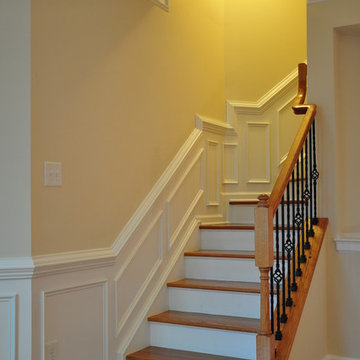 Shadow box wainscoting on a stairs