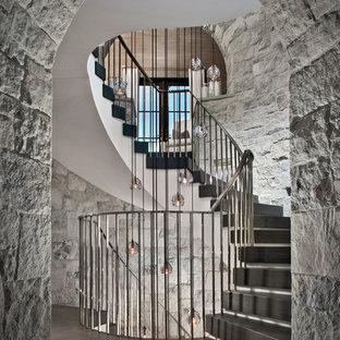 Diseño de escalera curva, mediterránea, extra grande