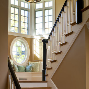 Staircase - victorian wooden u-shaped staircase idea in Boston