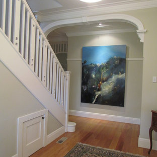 Example of a mid-sized classic painted straight wood railing staircase design in Sydney with painted risers