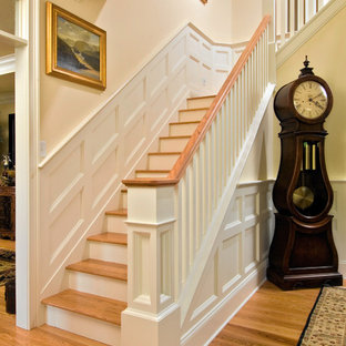 Example of a classic wooden l-shaped staircase design in Boston