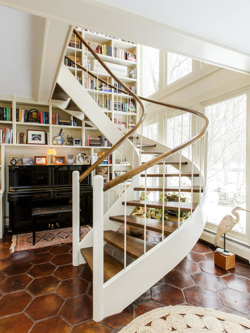 Inspiration For A Mid Sized Farmhouse Wooden Spiral Open And Wood Railing  Staircase Remodel In