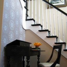 Eclectic Staircase simply black and white