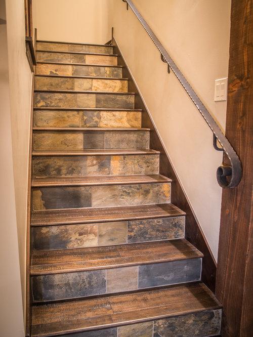 Fotos de escaleras dise os de escaleras r sticas con escalones de pizarra - Escaleras de madera rusticas ...