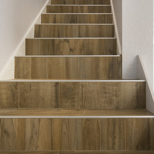 Bon Example Of A Mid Sized Minimalist Tile Straight Staircase Design In Tampa