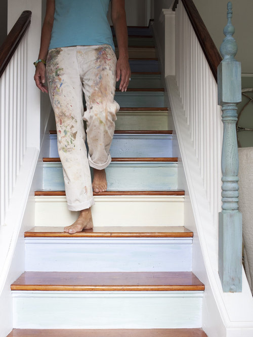 Painted stairs home design ideas pictures remodel and decor for Painted stair treads
