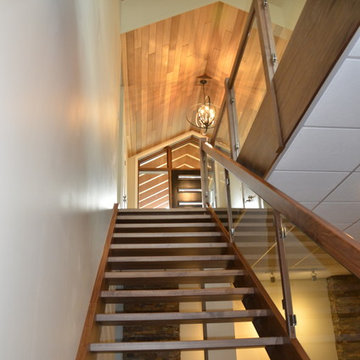 Solid Walnut Stairs with Glass Railing