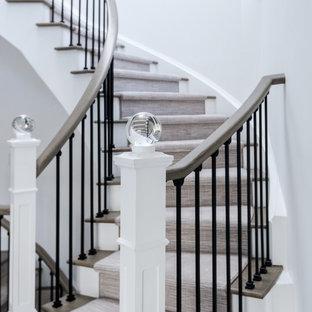 Ejemplo de escalera curva, tradicional renovada, grande, con escalones de madera, contrahuellas de madera pintada y barandilla de varios materiales