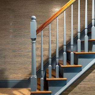 Inspiration for a mid-sized transitional wooden straight mixed material railing staircase remodel in Austin with wooden risers