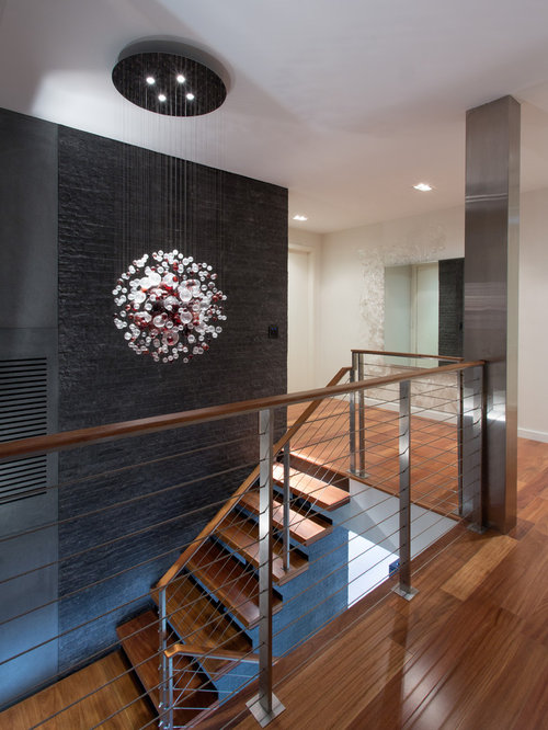 Modern Foyer With Stairs : Brazilian teak ideas pictures remodel and decor
