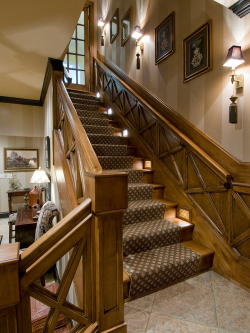 Large Elegant Wooden L Shaped Wood Railing Staircase Photo In Orlando
