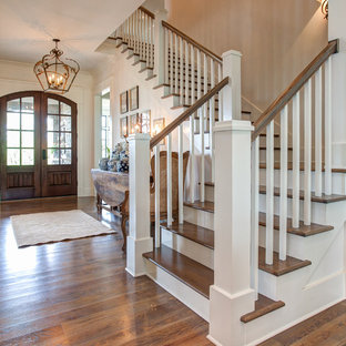 Staircase   Mid Sized Traditional Wooden L Shaped Wood Railing Staircase  Idea In Little