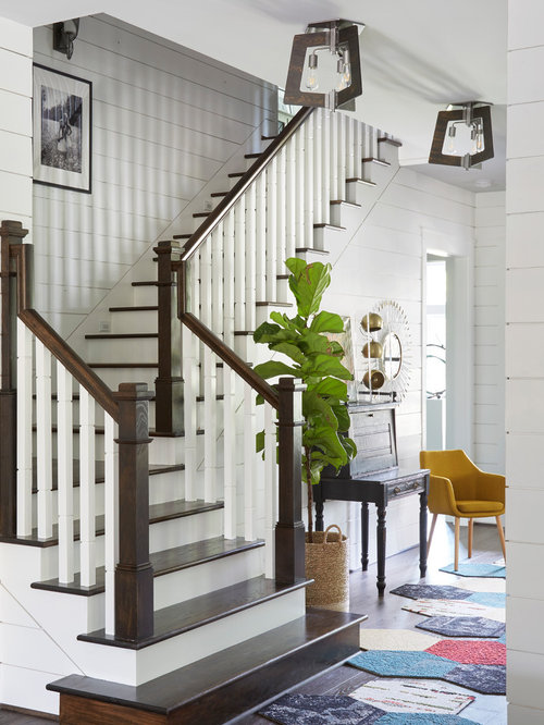 Farmhouse Wooden L Shaped Wood Railing Staircase Idea In Houston