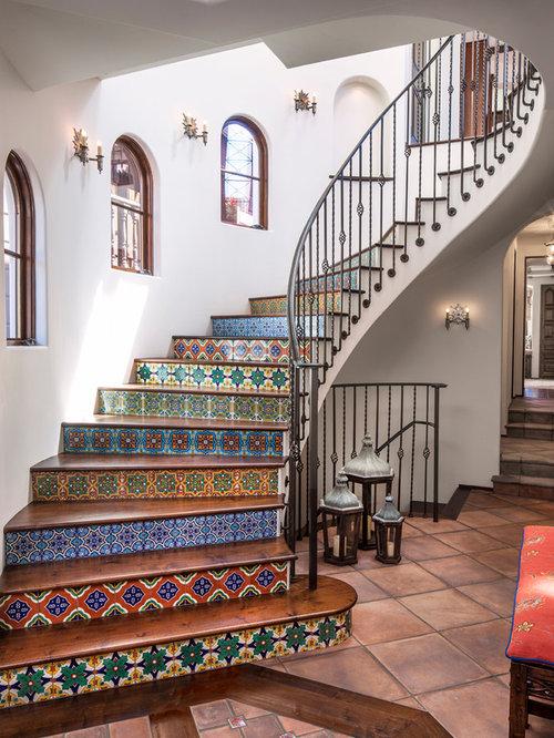 Decorative spanish tile risers houzz for Decorative spanish tile
