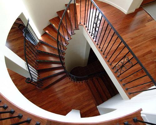 Delightful Large Elegant Wooden Spiral Metal Railing Staircase Photo In San Francisco