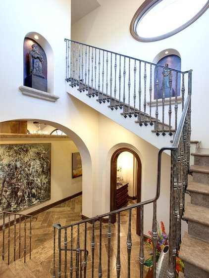 Mediterranean Staircase by JAUREGUI Architecture Interiors Construction