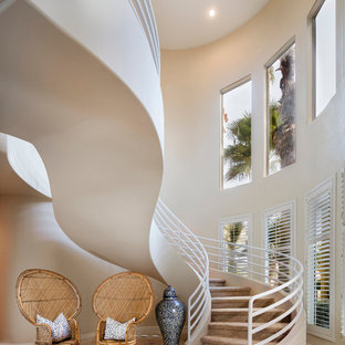 Ispirazione per una scala curva tropicale con pedata in moquette e alzata in moquette
