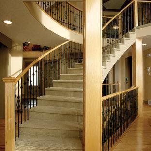 Foto de escalera curva, contemporánea, grande, con escalones enmoquetados y contrahuellas enmoquetadas
