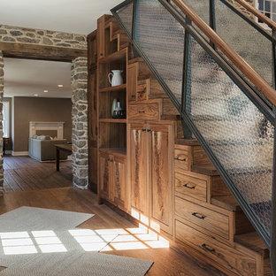 Bon Mountain Style Wooden Straight Glass Railing Staircase Photo In Philadelphia