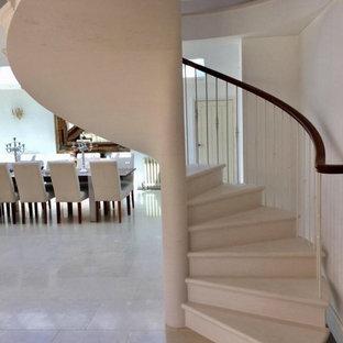 他の地域の小さいライムストーンのコンテンポラリースタイルのおしゃれならせん階段 (ライムストーンの蹴込み板、金属の手すり) の写真