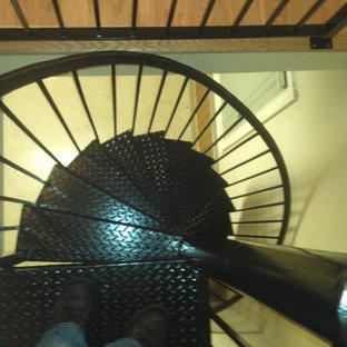 アトランタの中サイズの金属製の地中海スタイルのおしゃれならせん階段 (金属の蹴込み板) の写真