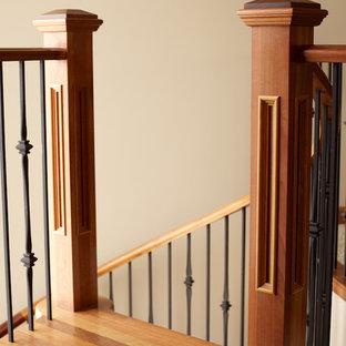 Esempio di una scala a chiocciola minimalista con pedata in legno, alzata in legno e parapetto in materiali misti