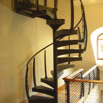 Spiral Stairs with cable railing