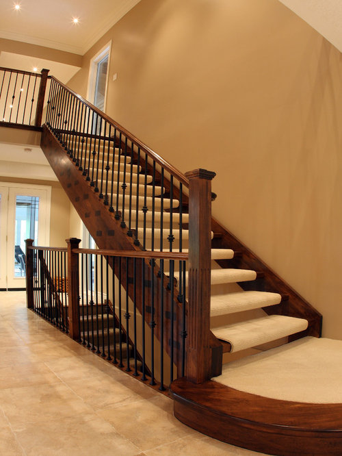 Example Of A Classic Carpeted Floating Open Staircase Design In Toronto