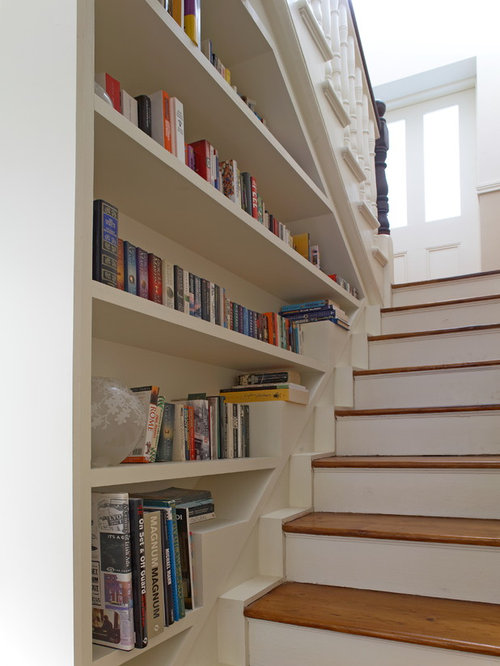 Bookcases Next To Stairs Home Design Ideas Pictures