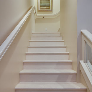 Example of a mid-sized trendy painted l-shaped staircase design in Miami with painted risers