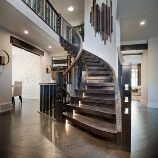 Inspiration for a contemporary wooden curved mixed material railing staircase remodel in Edmonton with wooden risers