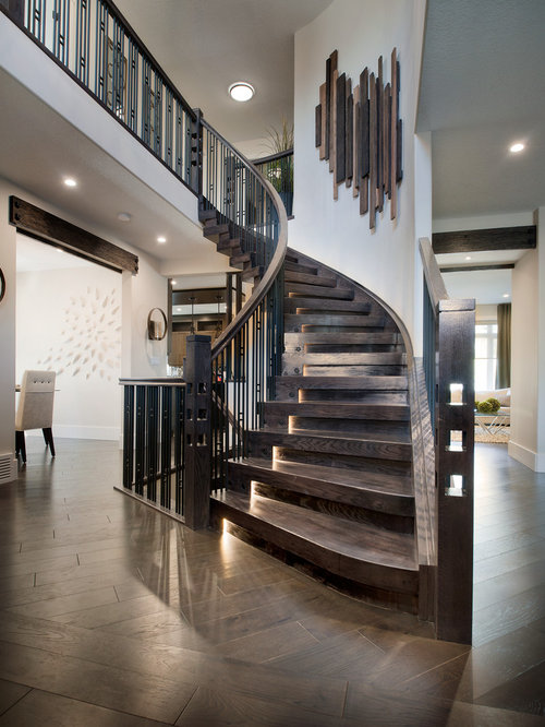 Contemporary curved staircase design ideas remodels photos for Curved staircases