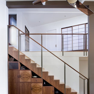 Staircase - contemporary wooden straight staircase idea in San Francisco with wooden risers