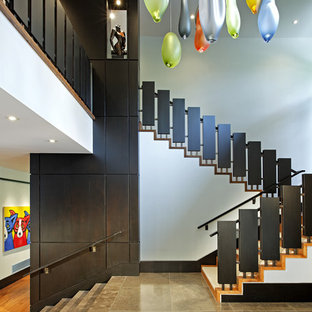 Staircase   Mid Sized Contemporary Wooden U Shaped Staircase Idea In Toronto